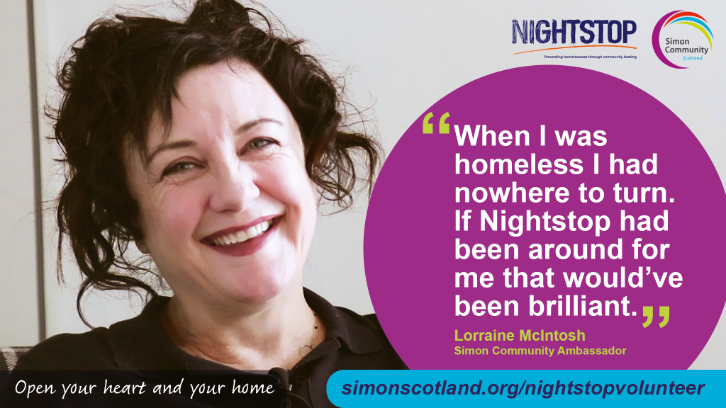 Deacon Blue star Lorraine McIntosh is supporting our campaign to encourage people in Glasgow to become Nightstop community hosts