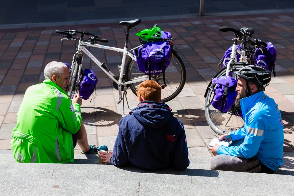Street Cycle team members travelling around Glasgow deliver and pick up items, and to offer help and advice, tea and coffee, to any people they come across who might be experiencing rough sleeping or homelessness.
