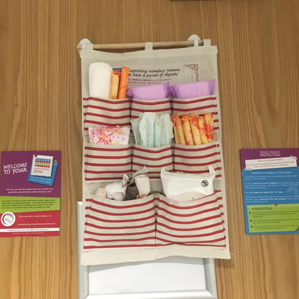 Our Period Friendly Points are located in public buildings across Glasgow and Edinburgh, and provide women experiencing homelessness with free period products