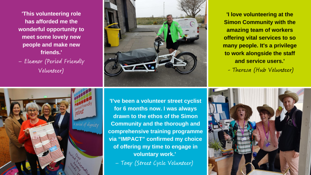 Our volunteers share what they love about volunteering at Simon Community Scotland.