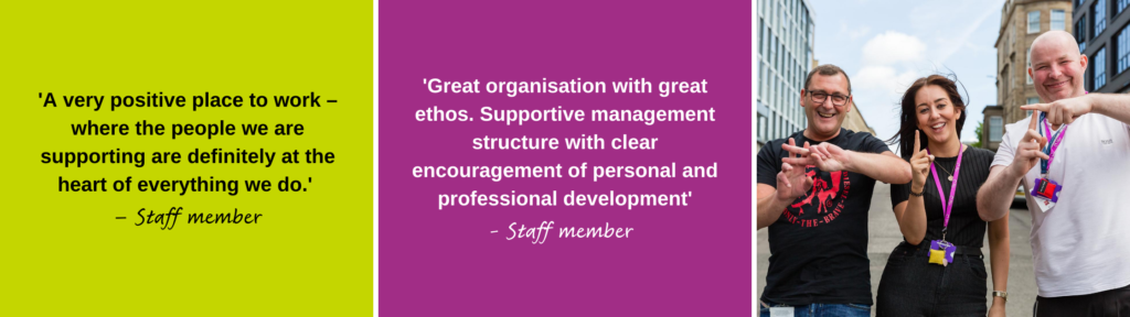Quotes from our staff about working at Simon Community Scotland.