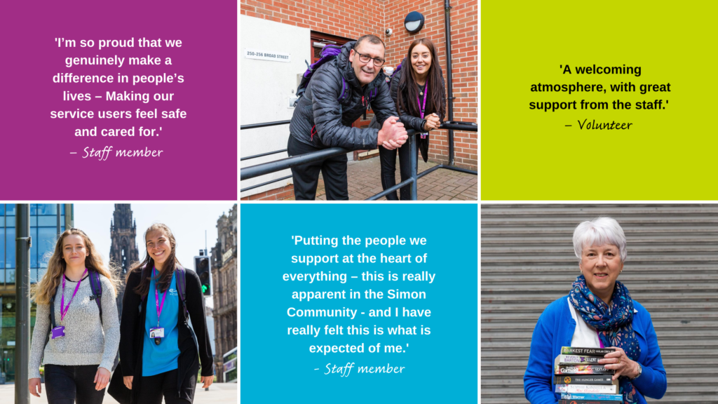 Quotes from our volunteers and staff about working with Simon Community Scotland